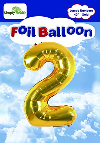 40 Gold Jumbo Digital Number Balloons Huge Giant Balloons Foil Mylar Balloons for Birthday Party,Wedding, Bridal Shower Engagement Photo Shoot, Anniversary (Number Two #2)