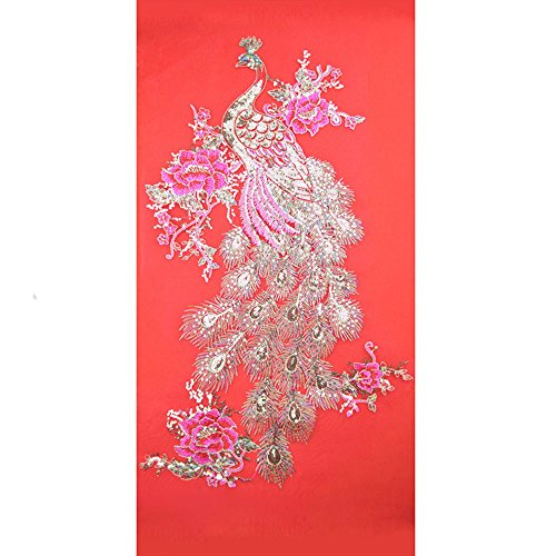 -  Orcbee  _Blossom Peacock Applique Clothing Embroidery Patch Sticker Iron Sew Cloth DIY (Red)
