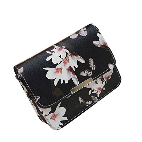 Mengonee Borsa a tracolla piccola borsa a tracolla per donna Borsa a tracolla con fiore Fiore Nero