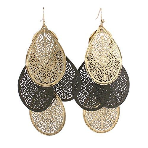(Grace Jun Bridal Vingtage 4 Teardrop Shape Pierced Dangle Earrings Large Statement Earrings (Mix 1))