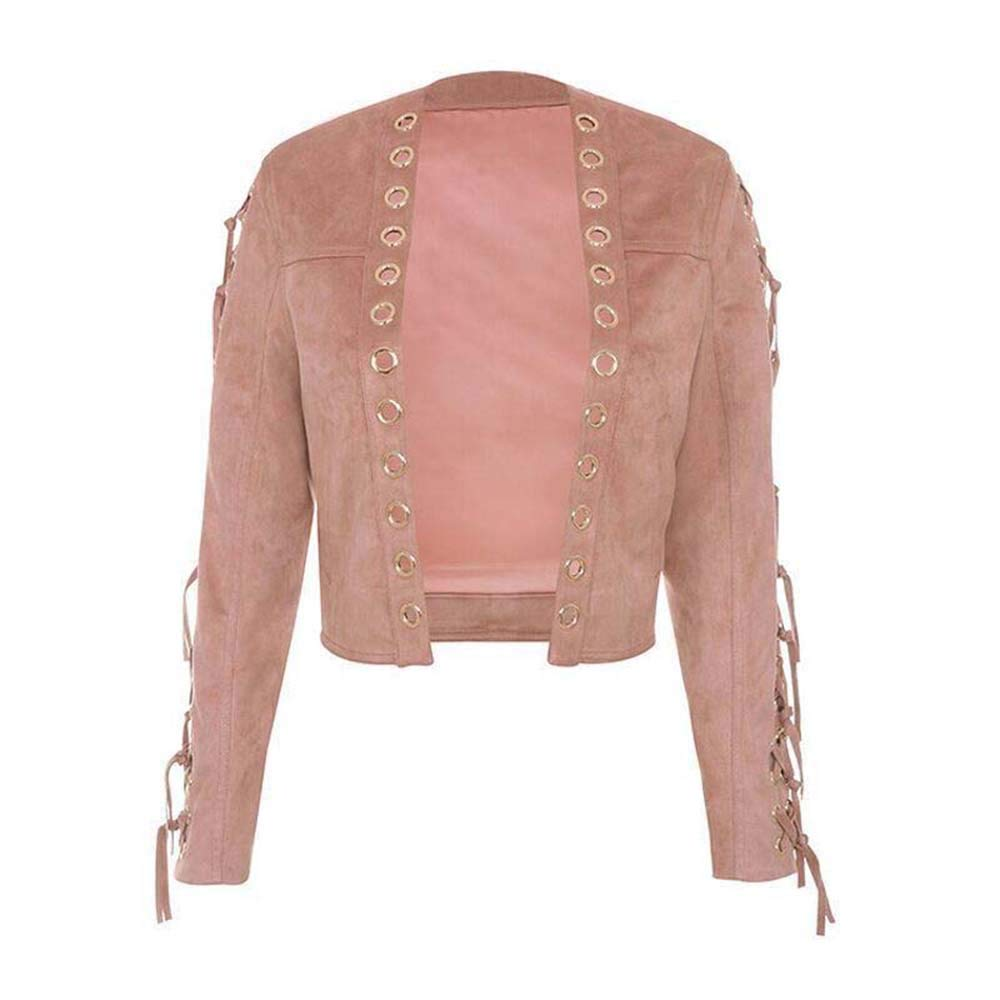 Women Pink Tassel Decorative Leather Jackets Slim Suede Velvet Short Coats for Summer Autumn