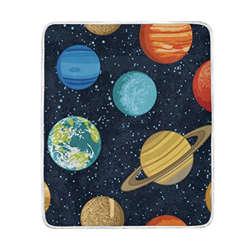 ALAZA Solar System Planets Blanket Luxury Throw Personalized Stylish Fuzzy Soft Warm Lightweight Blanket for Bed Counch All Season Unisex Adult Men Women Boys Girls 50x60 inches by ALAZA