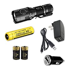 Nitecore MH20 Rechargeable LED Flashlight 1000 Lumens w/ NL189 Battery, Car & Wall Charger + 2 Premium CR123A Batteries