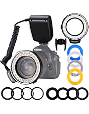 Ring Flash, Shotory LED Macro Ring Light with LCD Display, Adapter Rings and Flash Diffusers for Nikon Canon and Other DSLR Cameras (With 8 adapter)