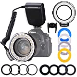 Ring Flash, Shotory LED Macro Ring Light with LCD Display, Adapter Rings and Flash Diffusers for Nikon Canon and Other DSLR Cameras (Fits Φ55 Lens)