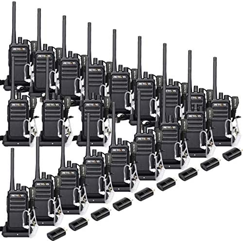 Retevis RT17 20 Pack Wakie Talkies with Earpiece 2 Pin UHF 16 Ch Monitor Encryption 2 Way Radios Rechargeable Long Range Two Way Radios Security