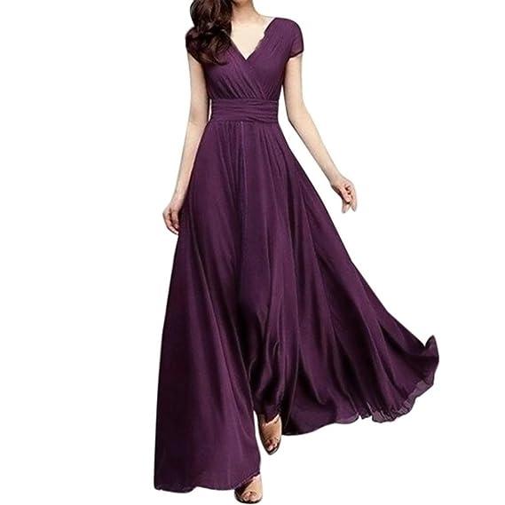 Vestido largo mujer , Amlaiworld Moda Mujer sexy Vestido largo de noche de gasa sólido con
