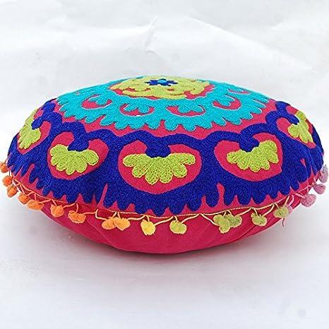 Cojín Redondo Tradicional Suzani de Jaipur Boho, Fundas de ...