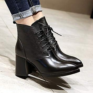 HRCxue Zapatos de la Corte Moda Botines Simples para Mujer, con Botas Puntiagudas, Tubo