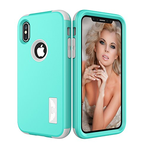 Fusion Base Layer Pant - iPhone X Case, SUMOON [New] [Drop Protection] Hybrid Heavy Duty Three Layer Verge Shockproof Full-Body Protective Armor Defender Case for iPhone X 2017 (Mint)