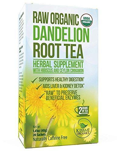 Dandelion Root Tea Detox Tea - Raw Organic Vitamin Rich Digestive - 1 Pack (20 Bags, 2g Each) - Helps Improve Digestion and Immune System - Anti-inflammatory and Antioxidant (Dandelion Root Tea)