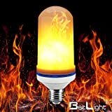 BetLight Flame Bulb- E26 Standard Base LED Flame Effect Light Bulbs,Fire Flickering Bulb for Valentines Day/ Outdoor Garden/ Hotel/ Bars/ Home Decoration (1 Mode Flame Fire Up (2 wattage))