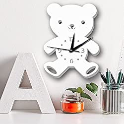 DPIST Teddy Bear Kids Wall Clock, Large Home Decorative Silent Non Ticking Quality Quartz Battery Operated Wall Clock-3D Easy to Read Bedroom/Living room/Office/School Clock