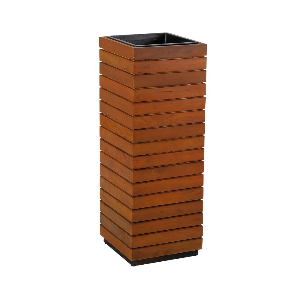 greemotion 2 Stück Pflanzsäule aus recyceltem Akazienholz, 33,5 x 33,5 x H94 cm, herausnehmbarer Einsatz, in-/outdoorgeeignet, Platztopf geölte Optik