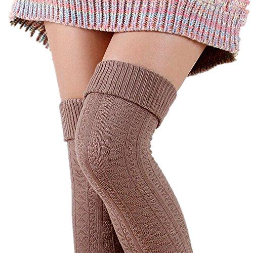 Womens Knee Leg Warmer Sock Leggings Knit High Thigh Booties Stockings (Khaki) (Thigh Socks For Women)