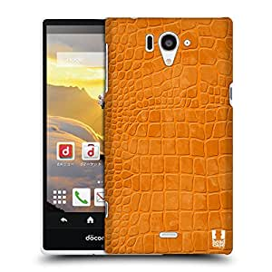 Head Case Designs Tangerine Crocodile Skin Patterns Protective Snap-on Hard Back Case Cover for Sharp Aquos Zeta SH-04F LTE