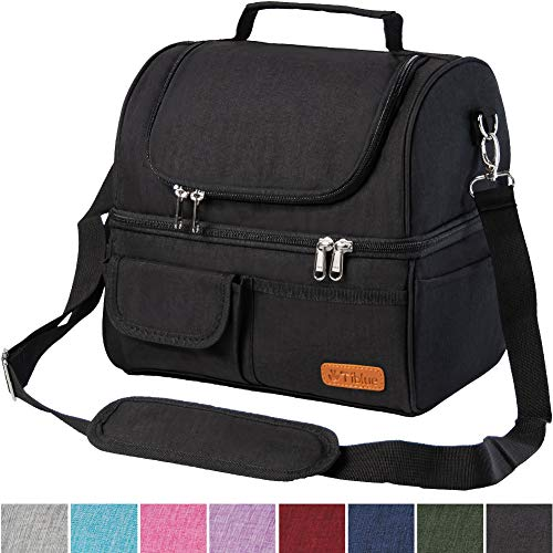 Insulated Lunch Bag Dual Compartment, Leakproof Lunch Box for Men Women, Reusable Thermal Cooler Bag with Detachable Strap, Durable Metal Buckle for School Office Outdoor Activities, Wide Open