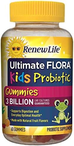 Renew Life Kids Probiotic - Ultimate Flora Kids Probiotic, Shelf Stable Probiotic Supplement - 3 Billion - Fruit Flavor, 60 Chewable Gummies