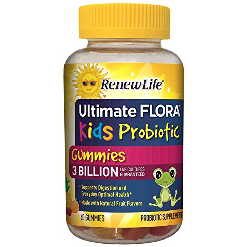 - Renew Life Kids Probiotic - Ultimate Flora  Kids Probiotic, Shelf Stable Probiotic Supplement - 3 Billion - Fruit Flavor, 60 Chewable Gummies (Packaging May Vary)