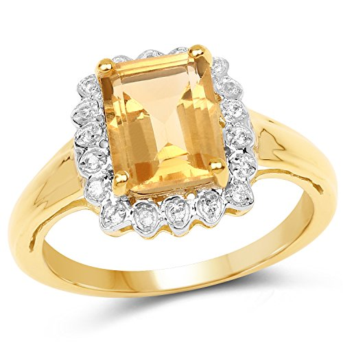 (925 Sterling Silver & 14K Yellow Gold PlatedGenuine Golden Citrine and White Topaz Ring (2.29 Carat) Size 8)