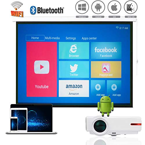 1080P Native Video Projector WiFi, Android Bluetooth Wireless Projector LED, 1G RAM + 8 G ROM, 4K Max Resolution, Support Airplay Miracast DLNA, for iPhone iPad Android Phone Tablets PC PS3/PS4 Xbox (Best Ipad Dlna Player)