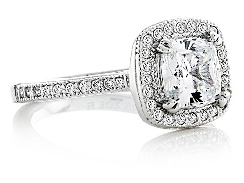 Zoe R Sterling Silver Micro Pave Hand Set Cubic Zirconia Halo 6mm Cushion Cut Center Wedding Set Size 6 by Zoe R (Image #4)