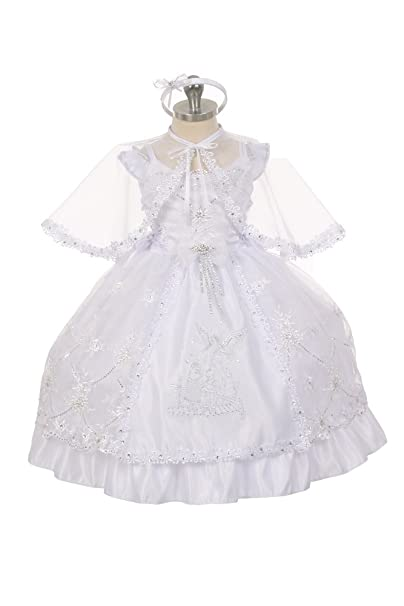 ed2cdd412 Rain Kids Baby Girls White Guardian Angel Organza Cape Baptism Dress 6-9M