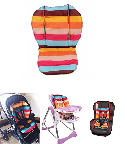 Baby High Chair Cushion (MOKRIL® Baby Stroller / Car Seat / High Chair Rainbow Striped Breathable Water Resistant Cushion Liner Mat Pad Cover Protector, Ships from U.S)