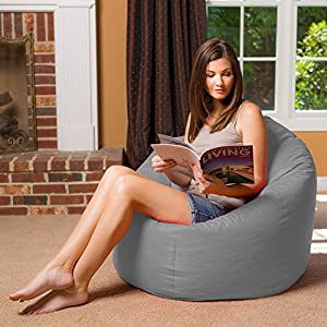 "Posh Bean Bag Chair for Children, Teens & Adults - 35"", Solid Gray"