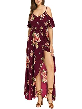 Vestidos Largos Mujer Tallas Grandes,Modaworld Vestido Largo Estampado de Flores Boho con