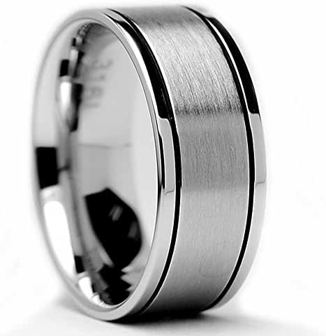 8MM Flat Top Stainless Steel Ring Matte Finish / High Polish Thin Grooves Sizes 7 to 13