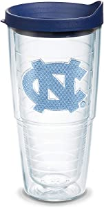 Tervis 1056608 North Carolina Tar Heels Logo Tumbler with Emblem and Navy Lid 24oz, Clear