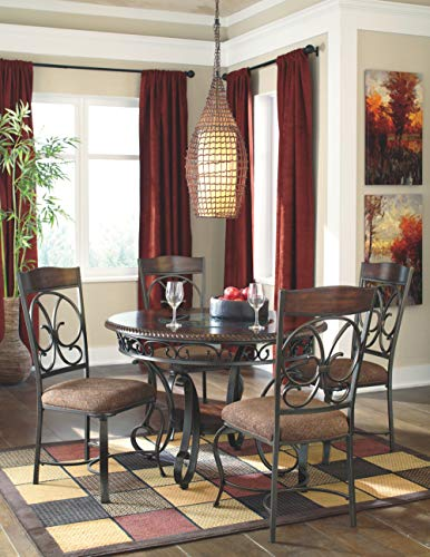 Ashley Furniture Signature Design - Glambrey Dining Room Chair Set - Scrolled Metal Accents - Set of 4 - Brown by Signature Design by Ashley (Image #7)