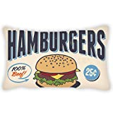 ColbyHazlitt Polyester Pillow Cover Food Themed Cartoon Hamburgers Pattern and Letter Bolster Throw Lumbar Pillow Case Cushion Cover For Couch Sofa Restaurant Home Decorative 12x18 Inches