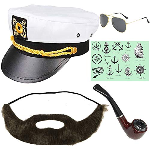 Yacht Captain & Sailor Costume Set - Hat,Corn Cob Pipe,Aviator Sunglasses,Vintage Anchor Temporary Tattoo (OneSize, -