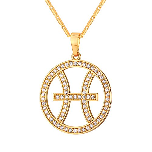 - U7 Pisces Zodiac Pendant Hollow Fashion with Cubic Zirconia Women & Men Birthday Gift Constellation Jewelry 18K Gold Plated Necklace