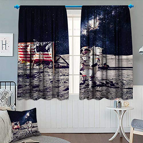 Chaneyhouse Outer Space Room Darkening Curtains American Spaceman on The Moon Future Solar Discovery in Deep Technology View Decor Curtains by 72'' W x 45'' L Blue Grey by Chaneyhouse