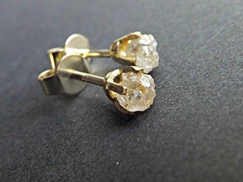 Uncut Diamond (raw diamond earrings, 14k yellow gold uncut diamond studs, gift for women, rough diamond studs solid gold, white raw diamonds)