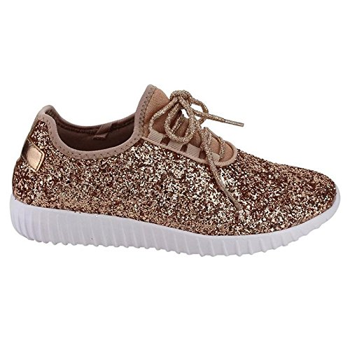 Forever Link Women's REMY-18 Glitter Fashion Sneakers Rose Gold 5.5 B(M) US by Forever Link (Image #2)
