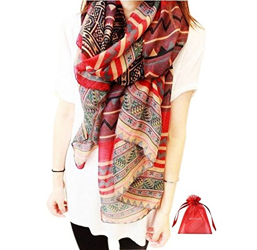 (Fashion Women Long Voile Tribal Aztec Scarf Shawl Muslim Hijab Bohemian Voile Soft Silk Scarf)