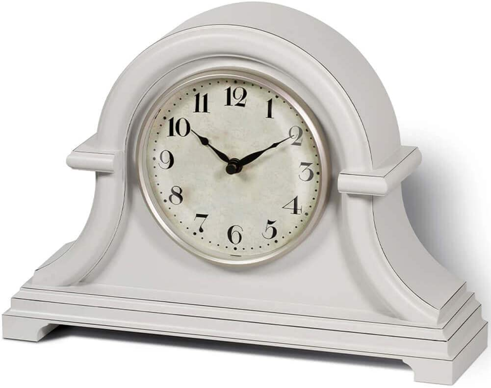 PresenTime & Co Vintage Farmhouse Table Clock Series Napoleon Mantel Clock,13 x 10 inch, Domed Lens, Quartz Movement, Gray Cream Color.