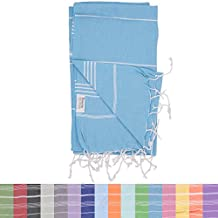 Essential Turkish Towel Peshtemal in 100% Cotton for Beach Bath Swimming Pool Yoga Pilates Picnic Blanket Scarf Wrap Hammam Fouta Turkish Bath Towels Beach Towel (Turquoise)