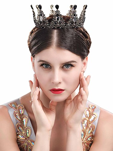 Chicer Baroque Wedding Crown Tiara Queen Princess Vintage Rhinestone Tiara Accessories For Women and Girls(Black). by Chicer