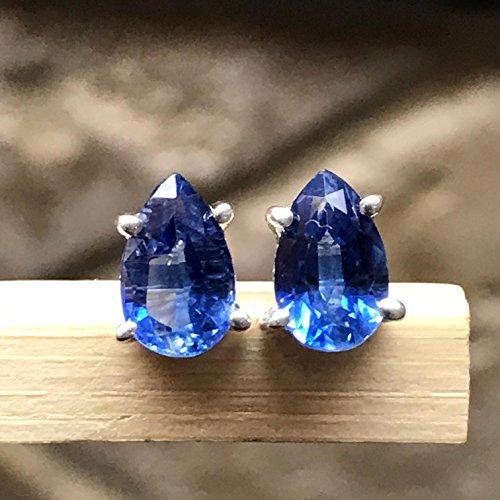 Natural Royal Blue Kyanite 925 Solid Sterling Silver Stud Pear Earrings 7mm Long