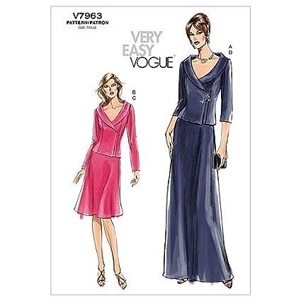 Vogue Patterns V7963 - Patrones de costura para camisetas y faldas de mujer (talla EE