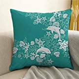 Silky Pillowcase Super Soft and Luxurious Pillowcase Dolphins Flowers Sea Life Floral Pattern Starfish Coral Seashell Wallpaper W20 x L20 Inch Sea Green White