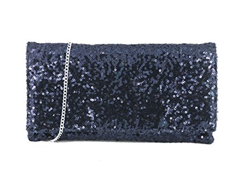 Loni Womens Sparkly Sequin Party Evening Clutch Shoulder Bag in Navy