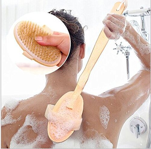 Natural Wood Bristle Spa Bath Shower Body Brush Detachable, Total Long Reaching 16.5 Length Txyk