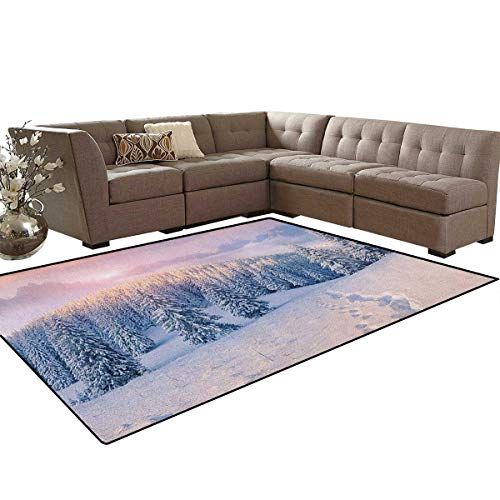 (Mountain,Rug,Idyllic Winter Morning in Woodland Rising Sun Pine Trees Forest Snowy Foggy,Dining Room Home Bedroom Carpet Floor Mat,Pale Pink White Size:6'6
