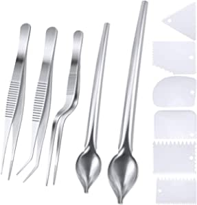SelfTek 5 Pcs Stainless Steel Cooking Tweezers Precision Tongs with Serrated Tips,Culinary Drawing Spoons,and 6 Piece Plastic Plating Wedge Set for Plates Decorating